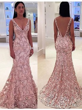 Mermaid Deep V-neck Sleeveless Sweep Train Pink Backless Lace Prom Dress