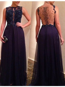 A-line Bateau Illusion Back Floor Length Black Prom Dress with Appliques Beading