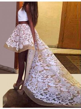 White Two Piece Jewel High Low Prom Dress with Appliques
