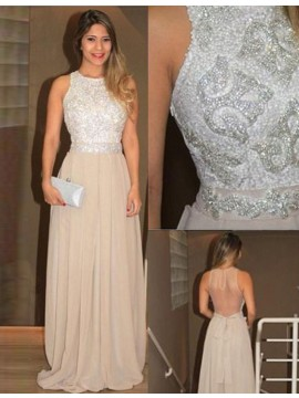 A-line Roung Neck Sleeveless High Low White Prom Dress with Lace Appliques