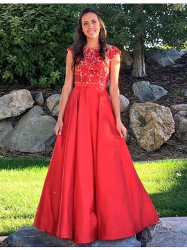 A-Line Bateau Cap Sleeves Floor-Length Red Prom Dress with Lace