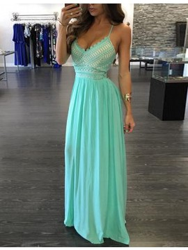 A-Line Spaghetti Straps Floor-Length Mint Prom Dress with Lace Beading