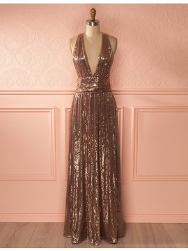 A-Line Deep V-Neck Floor-Length Brown Lace Prom Dress with Sequins