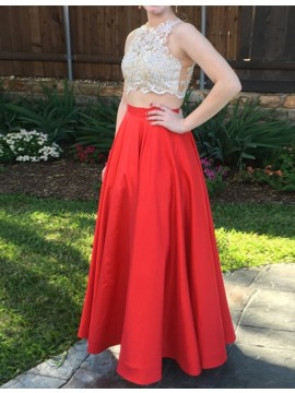Two Piece Jewel Red Satin Prom Dress with Appliques Beading