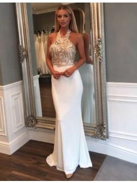 Mermaid Halter Backless Floor-Length White Elastic Satin Prom Dress with Beading Sequins