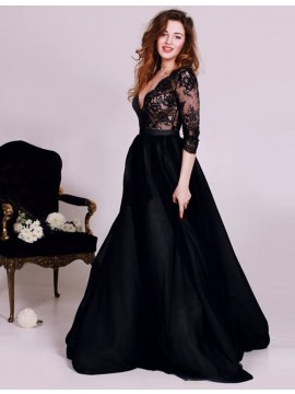 A-line Sweetheart Sleeveless Sweep Train Navy Blue Prom Dress with Beading