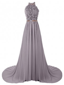 A-Line Halter Sweep Train Grey Chiffon Prom Dress with Lace Pleats