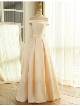 A-Line Off the Shoulder Lace-Up Light Champagne Prom Dress with Pleats Bowknot