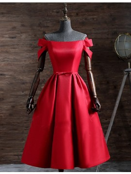 A-Line Off the Shoulder Lace-Up Red Satin Short Prom Dress with Bowknot Pleats