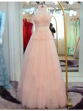 A-Line Halter Backless Floor-Length Pink Prom Dress with Beading Lace