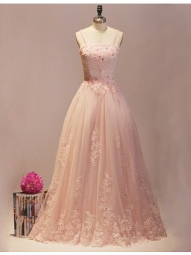A-line Strapless Lace-up Detachable Peach Prom Dress with Appliques Beading