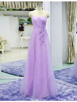 A-line Spaghetti Straps Long Lace-up Pink Prom Dress with Beading Appliques
