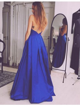 A-Line Simple V-neck Sleeveless Backless Royal Blue Prom Dress