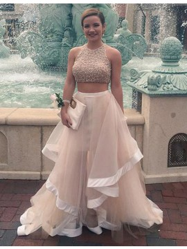 A-line Sweetheart Sleeveless Floor Length Champagne Prom Dress with Beading