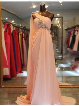 A-line Round Neck Asymmetrical Light Champagne Two Piece Prom Dress with Beading