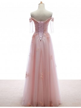 A-line One Shoulder Sleeveless Watteau Train Peach Prom Dress with Beading