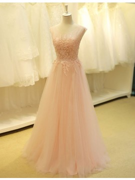 A-line Off the Shoulder Half Sleeves Lace-up Long Pink Prom Dress with Lace Appliques