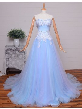 A-line Strapless Sleeveless Sweep Train Light Blue Prom Dress with Beading Appliques