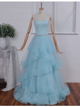 A-line Sweetheart Floor Length Tiered Light Blue Prom Dress with Beading Lace