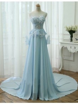 A-line Crew Long Sleeves Long Lace-up Light Blue Prom Dress with Beading Lace Pearls