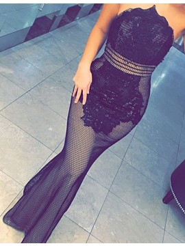 Mermaid Strapless Floor Length Black Prom Dress with Beading Lace