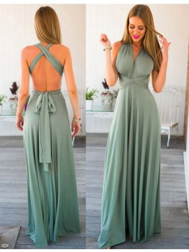 A-line V-neck Sleeveless Floor Length Backless Sage Prom Dress with Pleats Sash