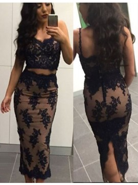 Mermaid Spaghetti Straps Tea-Length Two Piece Black Lace Prom Dress with Beading