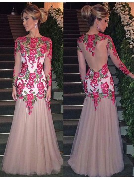 Sheath Jewel Long Sleeves Pearl Pink Prom Dress with Appliques
