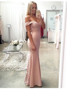 Mermaid Off the Shoulder Floor Length Blush Prom Dress with Lace