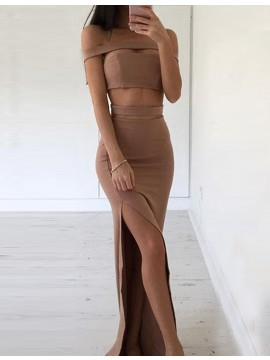 Two Piece Sheath Off the Shoulder Split Brown Prom Dress