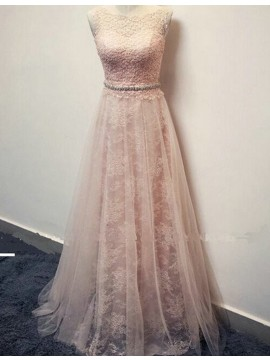 A-line Bateau Pearl Pink Prom Dress with Lace Beading