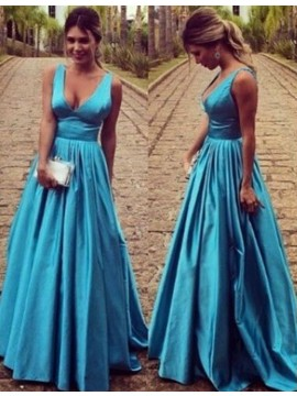 A-line V-neck Sleeveless Floor Length Blue Backless Prom Dress with Pleats