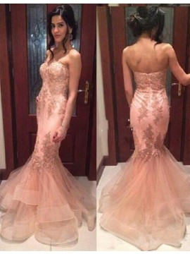Mermaid Strapless Sweep Train Pink Prom Dress with Appliques Lace