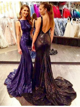 Mermaid Bateau Sweep Train Backless Navy Blue/Black Sequined Prom Dress