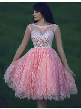 A-line Bateau Sleeveless Open Back Pink Short Lace Prom Dress with Beading
