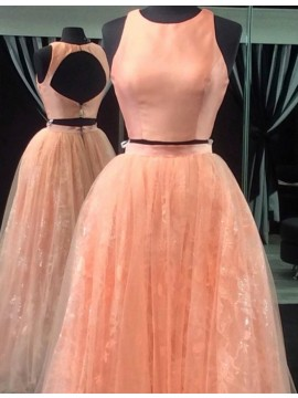 A-line Crew Neck Open Back Floor Length Peach Two Piece Prom Dress with Lace