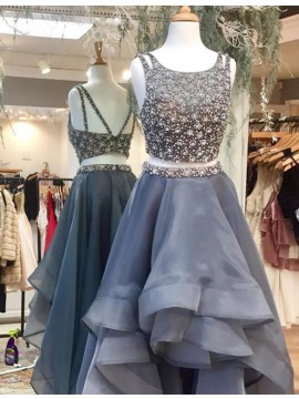 A-line Scoop High Low Tiered Grey Two Piece Prom Dress with Beading