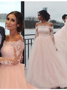 A-line Off the Shoulder Court Train Pearl Pink Prom Dress with Lace