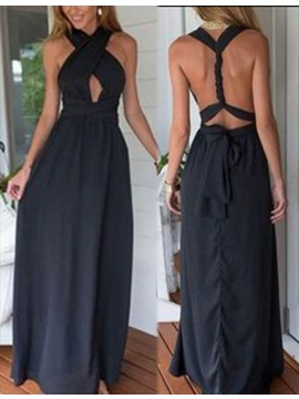 A-line V-neck Keyhole Backless Black Prom Dress with Sashes Bowknot