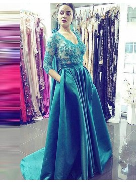 A-line Scoop 3/4 Sleeves Sweep Train Hunter Prom Dress with Lace Beading