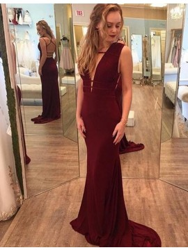 Mermaid Deep V-neck Criss-Cross Straps Burgundy Prom Dress