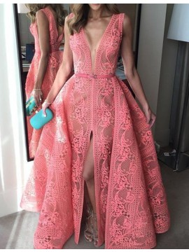 A-line Deep V-neck Split Watermelon Lace Prom Dress with Belt