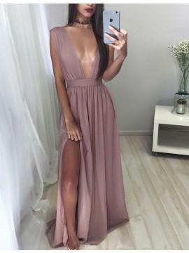 A-line Deep V Neck Floor Length Pleated Blush Prom Dress with Split