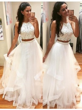 Two Piece Halter Floor-length White Prom Dress with Beading