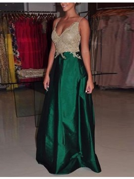 A-line V-neck Floor-length Green Prom Dress with Appliques