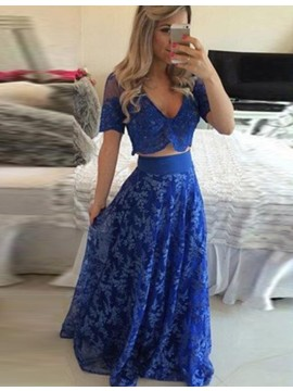 Two Piece V-neck Sweep Train Royal Blue Prom Dress with Lace