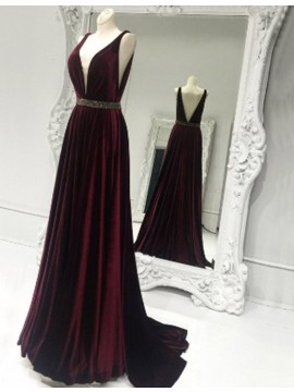 A-line V-neck Sweep Train Burgundy Prom Dress with Beading