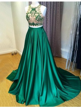 A-line Jewel Sweep Train Green Prom Dress with Embroidery