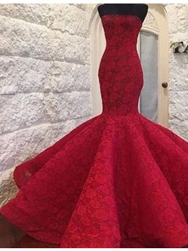 Mermaid Strapless Floor-length Red Prom Dress with Lace Ruched