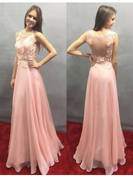 A-line Crew Sleeveless Floor-length Pink Prom Dress with Lace